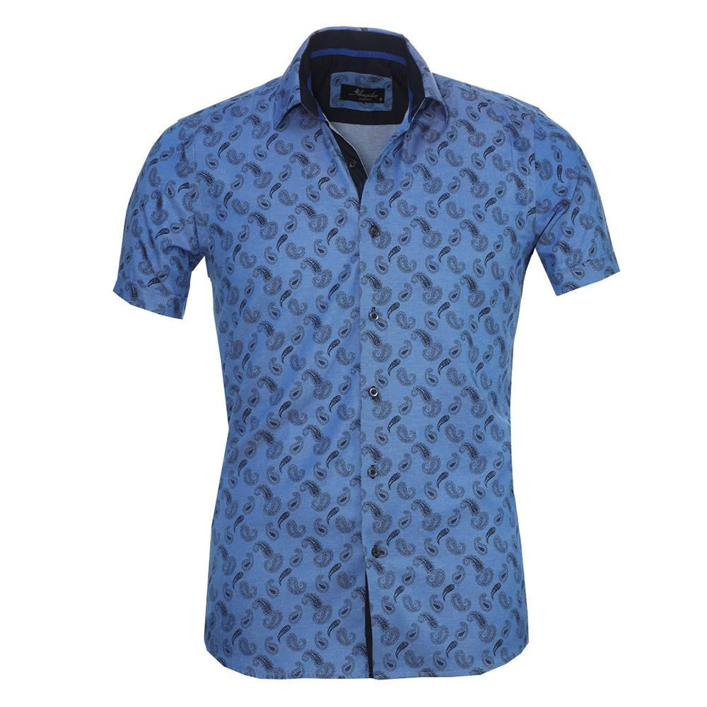 Men's Button down Tailor Fit Soft 100% Cotton Short Sleeve Dress Shirt Denim Blue Paisley casual And Formal