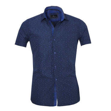 Men's Button down Tailor Fit Soft 100% Cotton Short Sleeve Dress Shirt Dark Blue Floral casual And Formal