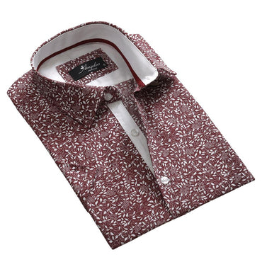 Men's Button down Tailor Fit Soft 100% Cotton Short Sleeve Dress Shirt Burgandy Floral casual And Formal