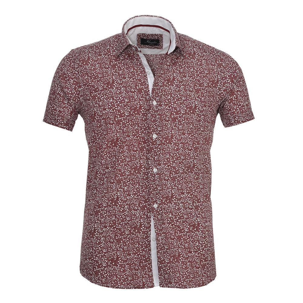 Men's Fashion Burgandy Floral Dress Shirt
