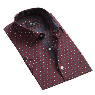 Men's Button down Tailor Fit Soft 100% Cotton Short Sleeve Dress Shirt Burgandy Circles casual And Formal - Amedeo Exclusive