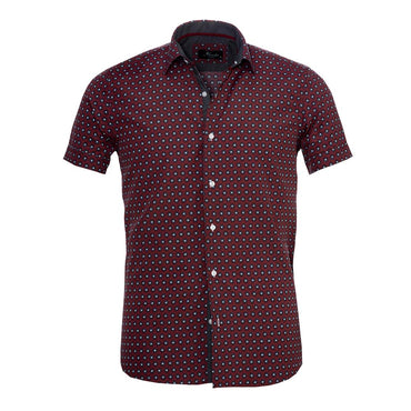 Men's Button down Tailor Fit Soft 100% Cotton Short Sleeve Dress Shirt Burgandy Circles casual And Formal