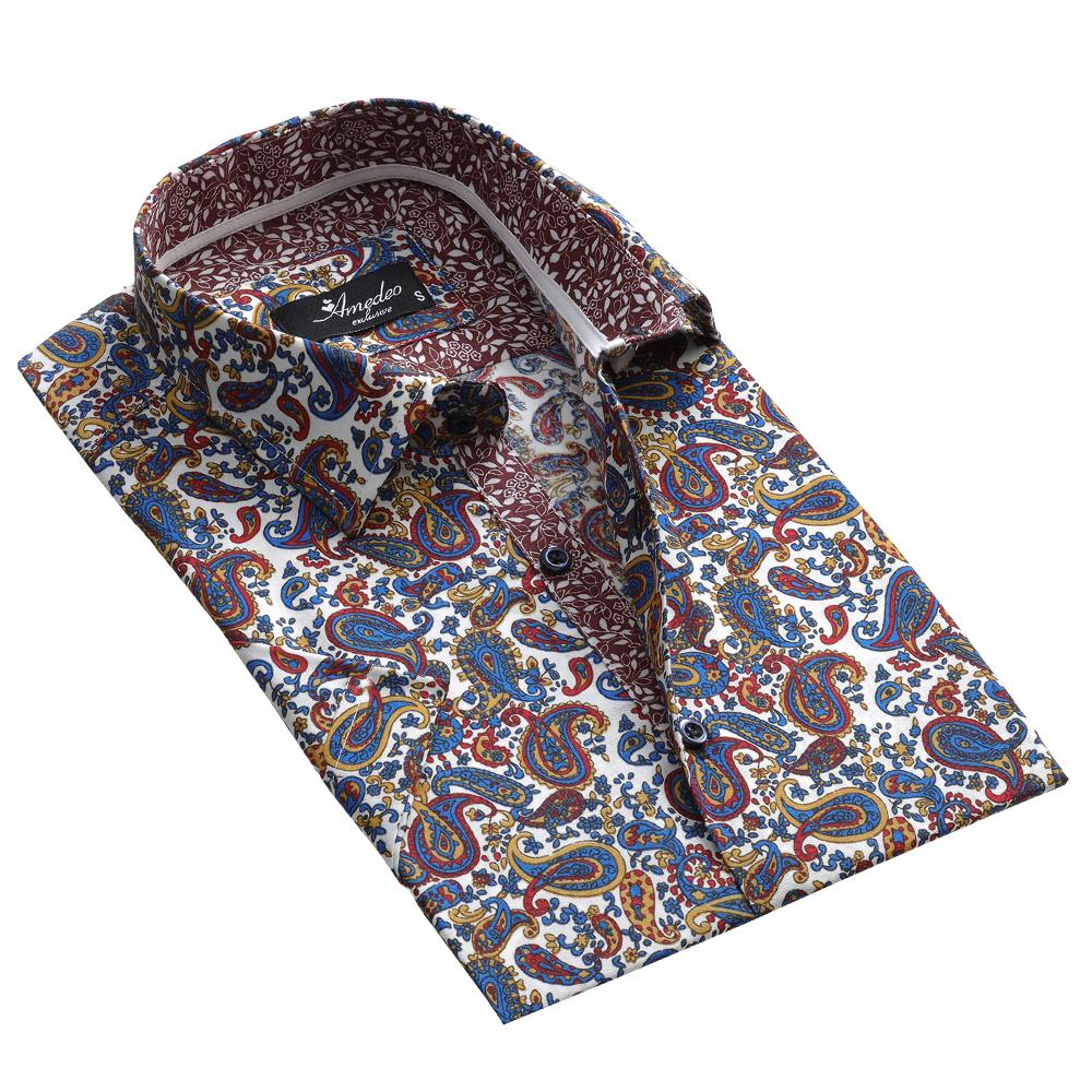 Men's Button down Tailor Fit Soft 100% Cotton Short Sleeve Dress Shirt Playful Colorful Paisley casual And Formal - Amedeo Exclusive
