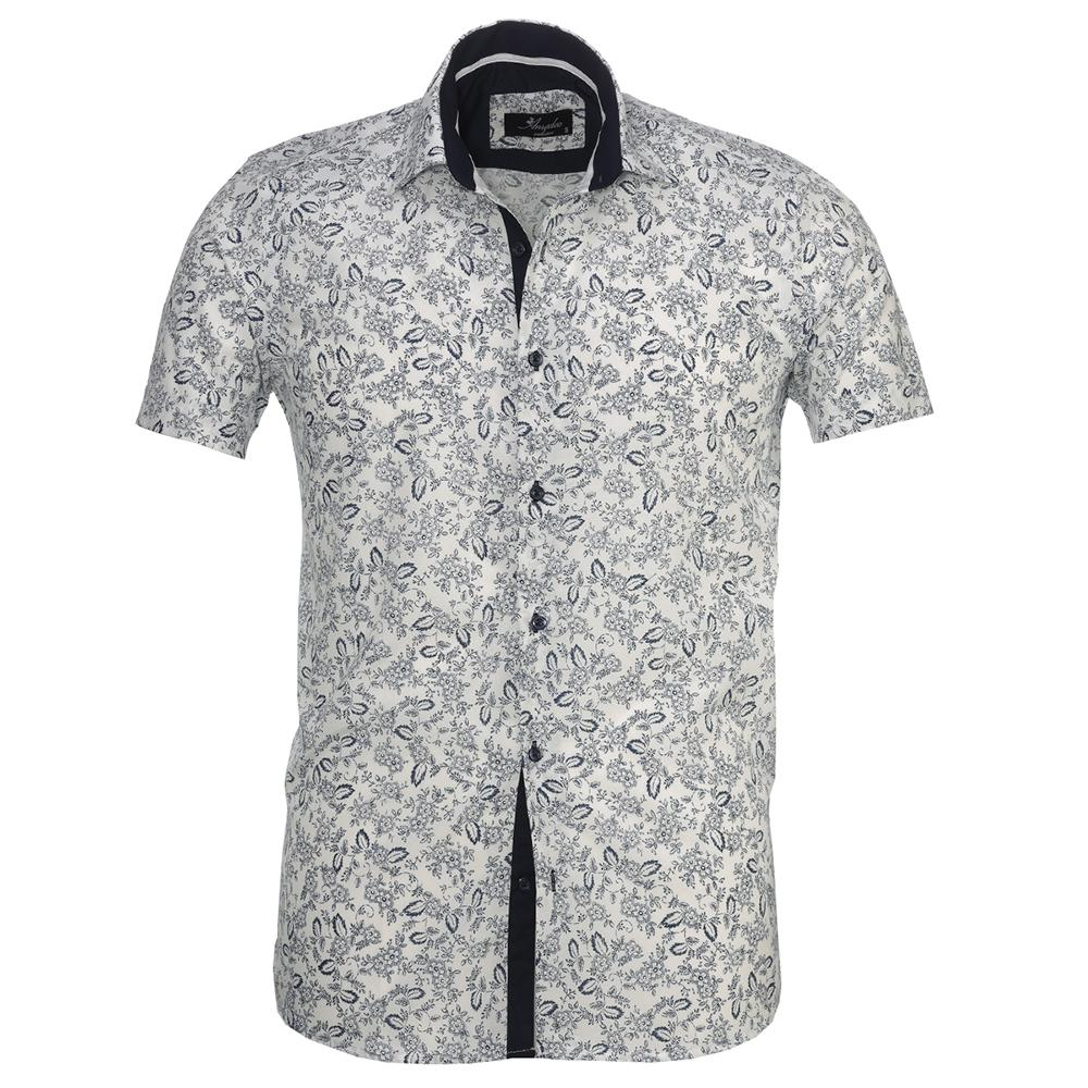 clients first beautiful design elegant and graceful Men's Button down Tailor Fit Soft 100% Cotton Short Sleeve Dress Shirt  White Navy Blue Floral casual And Formal