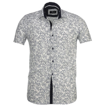 Men's Button down Tailor Fit Soft 100% Cotton Short Sleeve Dress Shirt White Navy Blue Floral casual And Formal - Amedeo Exclusive