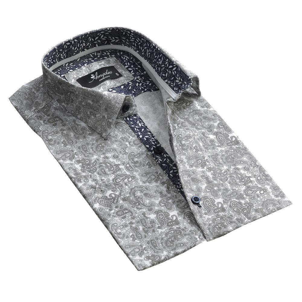 Men's Button down Tailor Fit Soft 100% Cotton Short Sleeve Dress Shirt Light Grey Floral casual And Formal
