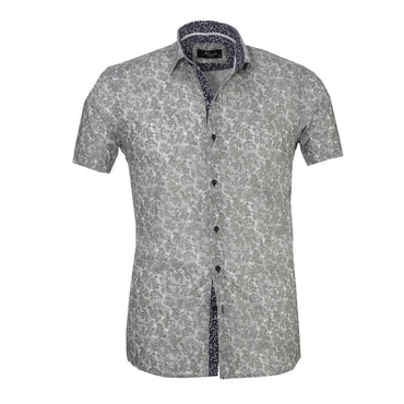 Men's Button down Tailor Fit Soft 100% Cotton Short Sleeve Dress Shirt Light Grey Floral casual And Formal - Amedeo Exclusive