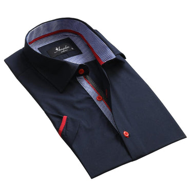 Men's Fashion Solid Navy Blue Dress Shirt