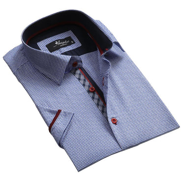 Men's Button down Tailor Fit Soft 100% Cotton Short Sleeve Dress Shirt Light Blue Check casual And Formal - Amedeo Exclusive