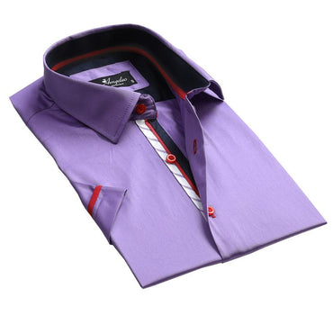 Men's Button down Tailor Fit Soft 100% Cotton Short Sleeve Dress Shirt Solid Light Purple casual And Formal