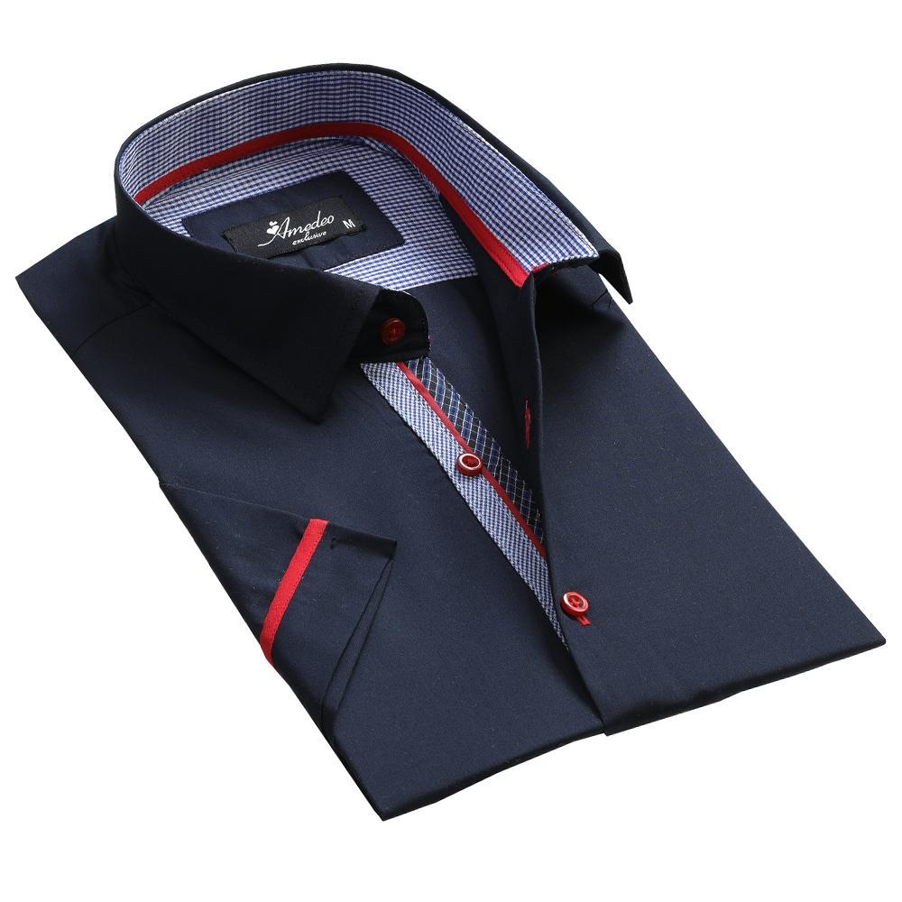 Men's Button down Tailor Fit Soft 100% Cotton Short Sleeve Dress Shirt Solid Navy Blue casual And Formal - Amedeo Exclusive