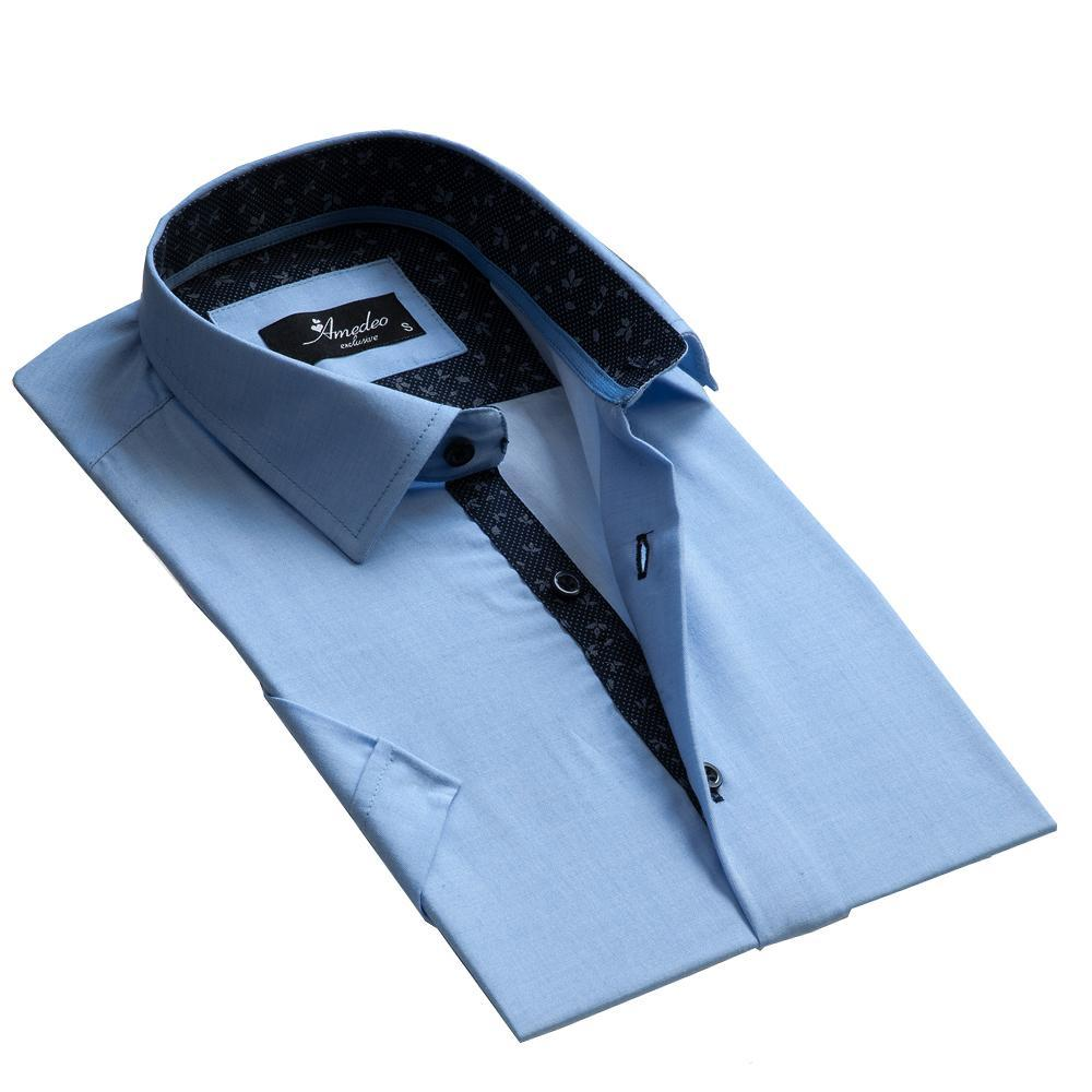 Men's Button down Tailor Fit Soft 100% Cotton Short Sleeve Dress Shirt Solid Light Blue casual And Formal