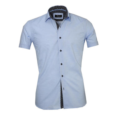 Men's Button down Tailor Fit Soft 100% Cotton Short Sleeve Dress Shirt Solid Light Blue casual And Formal - Amedeo Exclusive