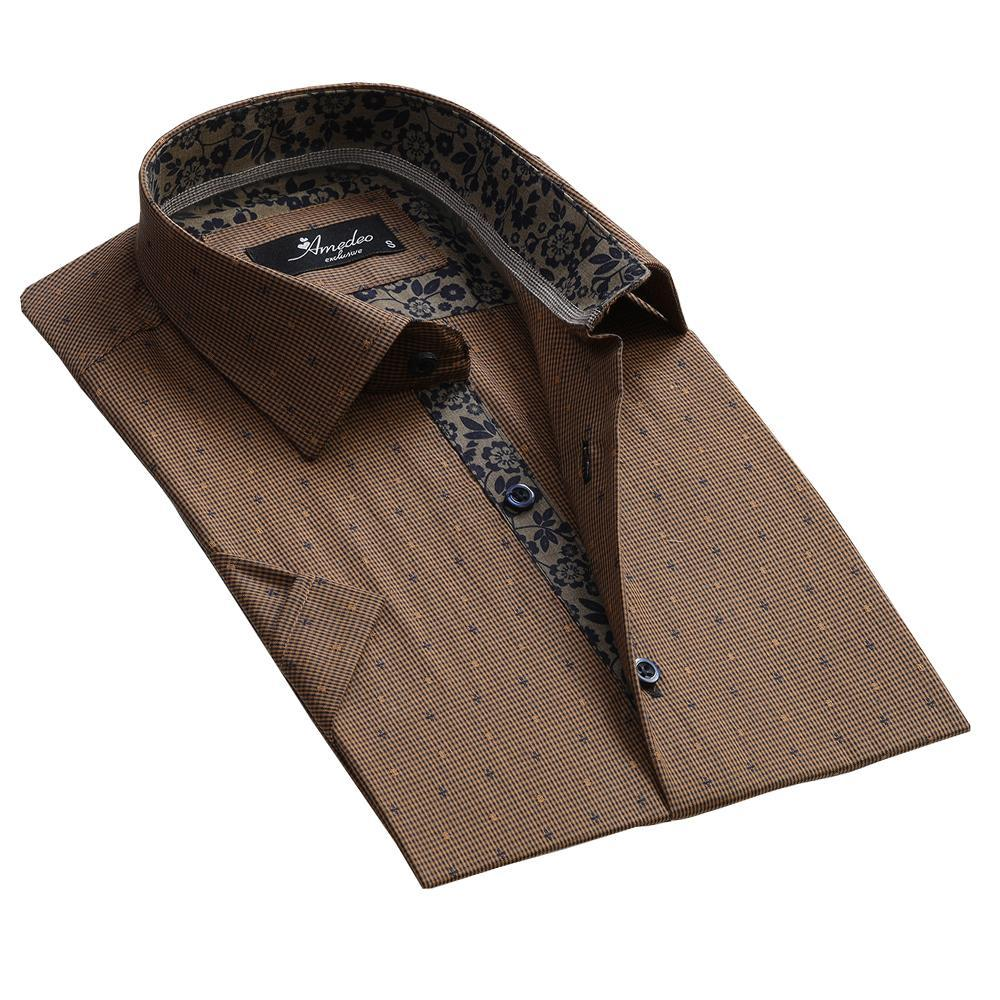 Men's Fashion Light Brown Dress Shirt