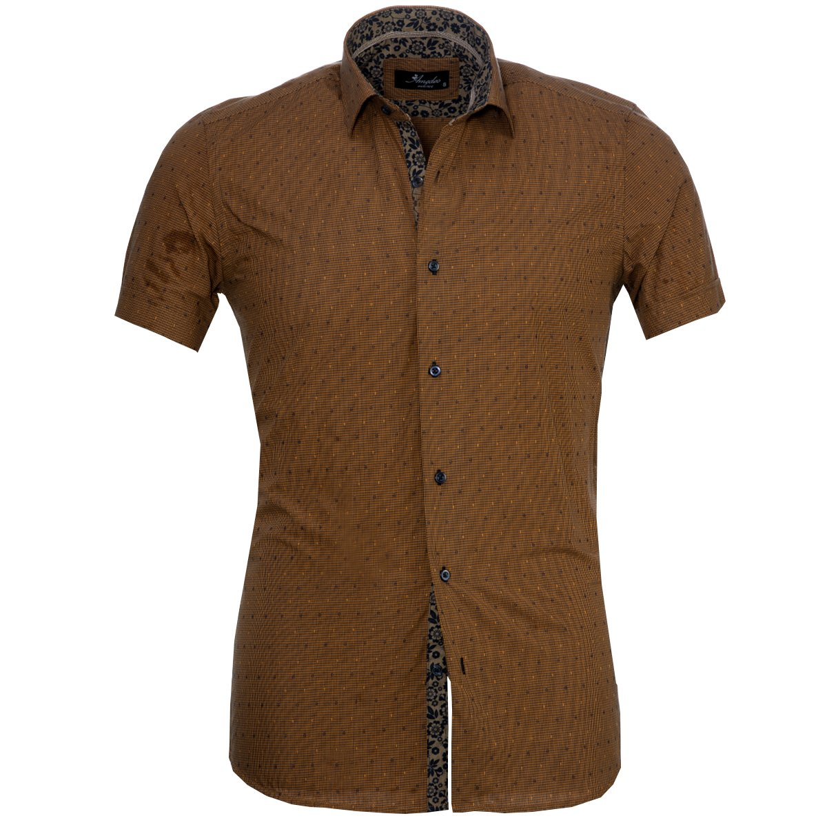 Men's Button down Tailor Fit Soft 100% Cotton Short Sleeve Dress Shirt Light Brown casual And Formal - Amedeo Exclusive