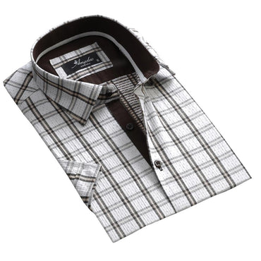 Men's Button down Tailor Fit Soft 100% Cotton Short Sleeve Dress Shirt White Check casual And Formal