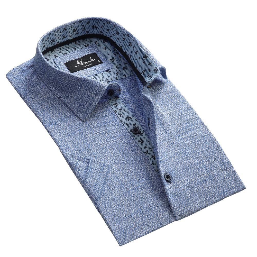 Men's Button down Tailor Fit Soft 100% Cotton Short Sleeve Dress Shirt Blue White Squares casual And Formal - Amedeo Exclusive