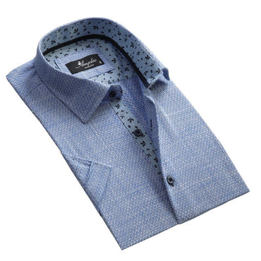 Men's Fashion Blue White Squares Dress Shirt