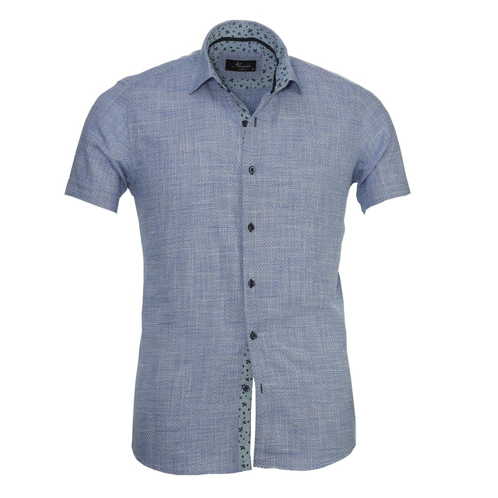 Men's Button down Tailor Fit Soft 100% Cotton Short Sleeve Dress Shirt Blue White Squares casual And Formal