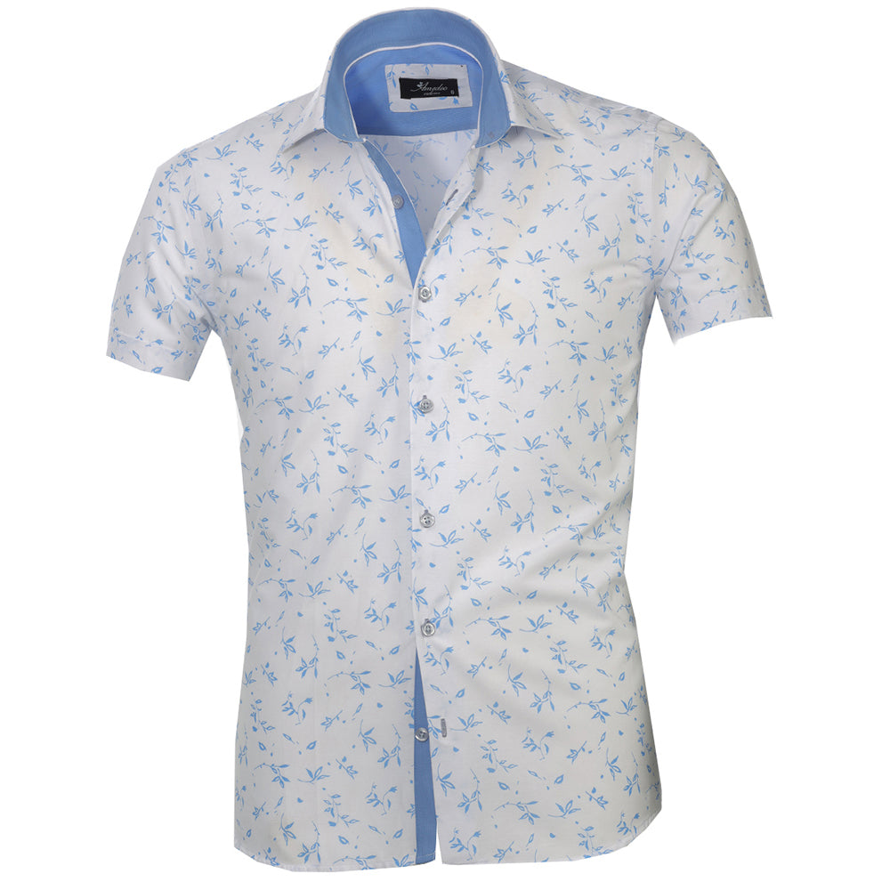 Men's Button down Tailor Fit Soft 100% Cotton Short Sleeve Dress Shirt White with Light Blue Floral casual And Formal - Amedeo Exclusive