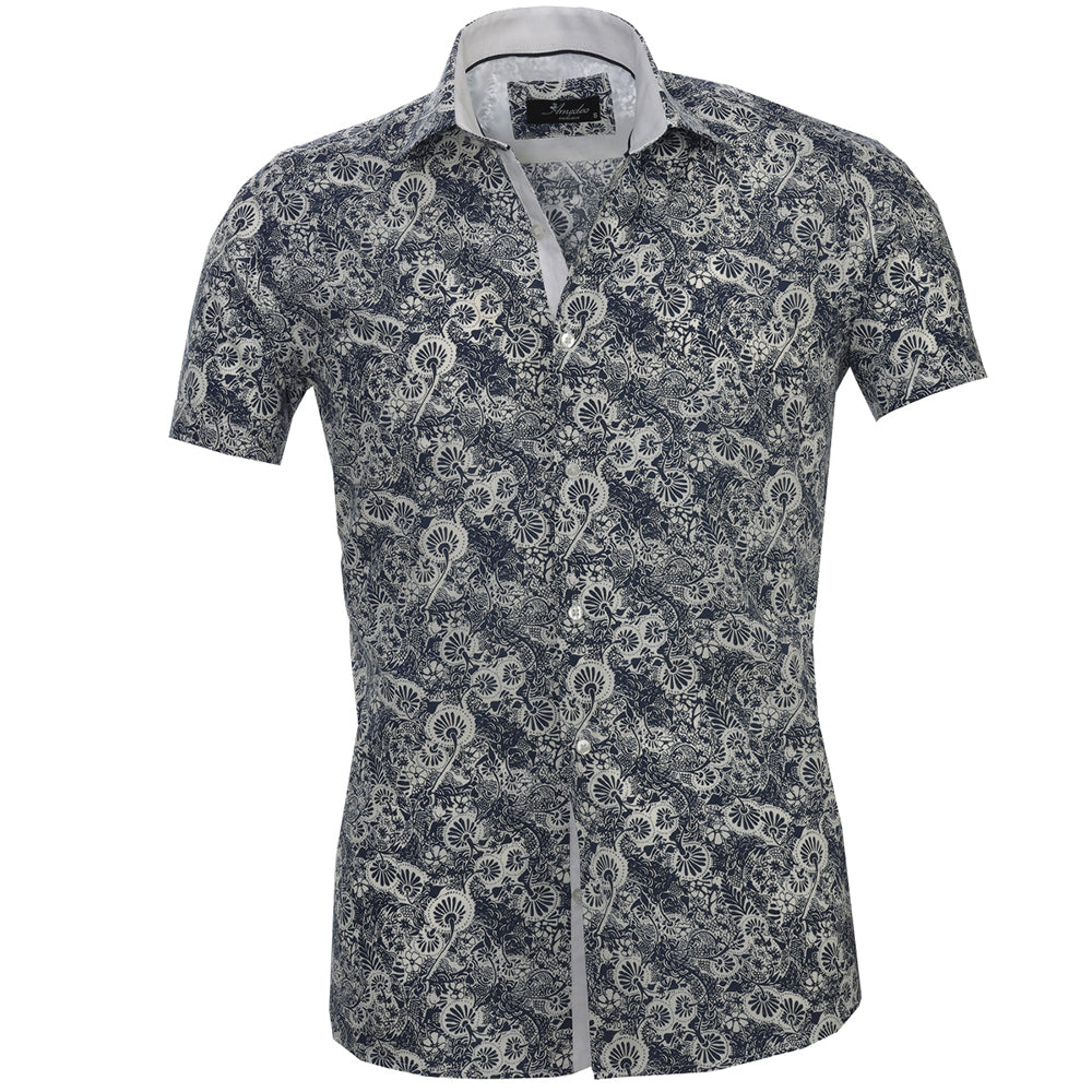 Men's Button down Tailor Fit Soft 100% Cotton Short Sleeve Dress Shirt White with Dark Blue Floral casual And Formal - Amedeo Exclusive