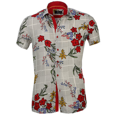 Men's Button down Tailor Fit Soft 100% Cotton Short Sleeve Dress Shirt Beige with Colorful Floral casual And Formal
