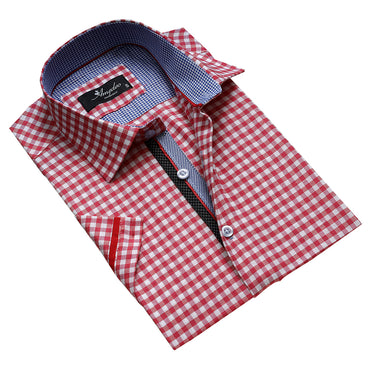 Men's Button down Tailor Fit Soft 100% Cotton Short Sleeve Dress Shirt Red White Checkered casual And Formal