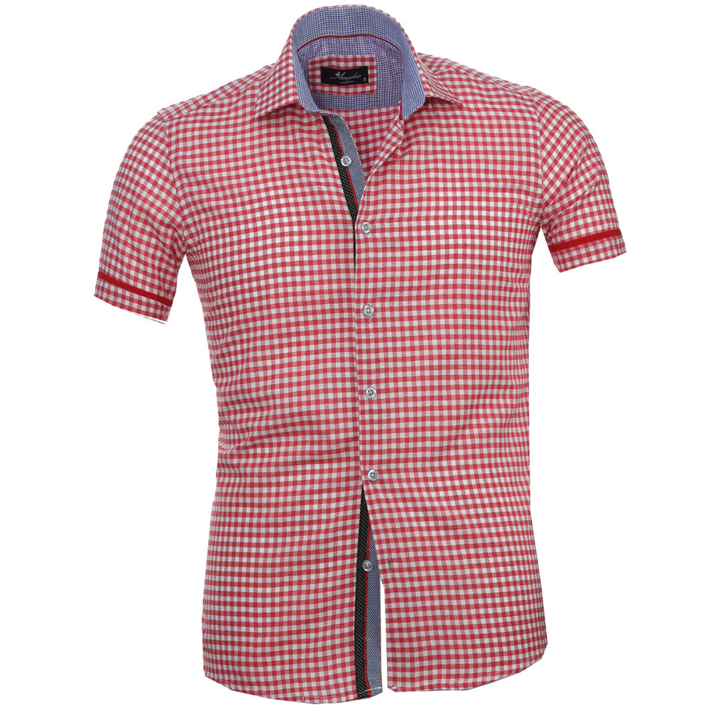 Red White Checkered Mens Short Sleeve Button up Shirts - Tailored Slim Fit Cotton Dress Shirts