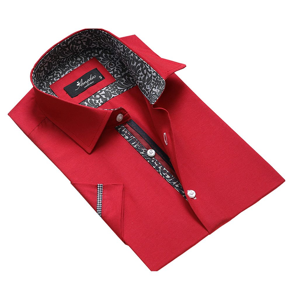 Men's Button down Tailor Fit Soft 100% Cotton Short Sleeve Dress Shirt Solid Red with Paisley casual And Formal - Amedeo Exclusive