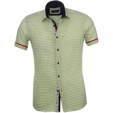 Men's Fashion Green White Checkered Floral Dress Shirt