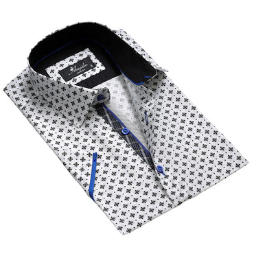 Men's Fashion White with Black Dress Shirt