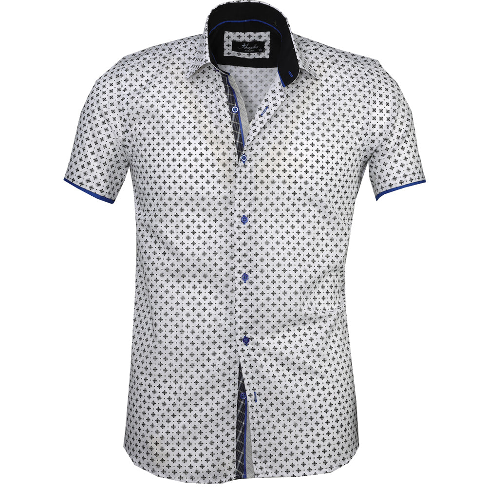 Men's Button down Tailor Fit Soft 100% Cotton Short Sleeve Dress Shirt White with Black casual And Formal - Amedeo Exclusive