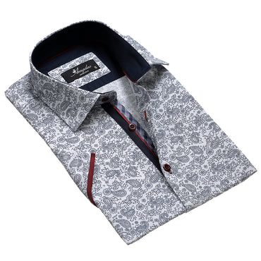 Men's Fashion White Black Floral Paisley Dress Shirt