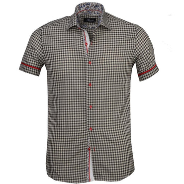 Men's Button down Tailor Fit Soft 100% Cotton Short Sleeve Dress Shirt Beige Black Checkered Paisley casual And Formal - Amedeo Exclusive