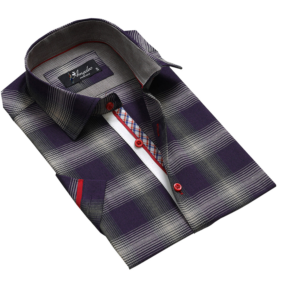 Men's Button down Tailor Fit Soft 100% Cotton Short Sleeve Dress Shirt Purple Grey Checkered casual And Formal - Amedeo Exclusive