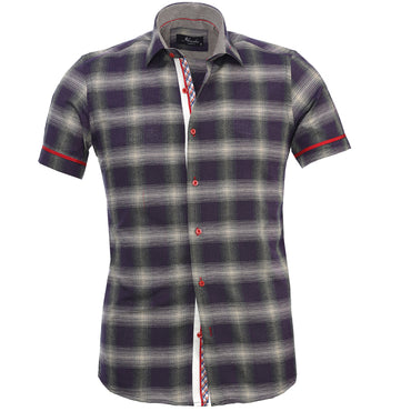 Men's Fashion Purple Grey Checkered Dress Shirt