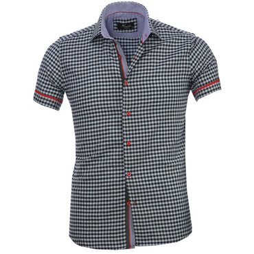 Men's Fashion Light Blue Black Checkered Dress Shirt