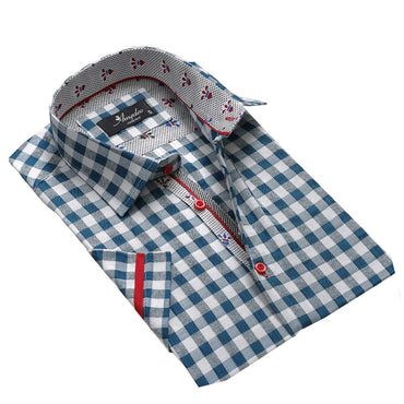 Men's Fashion Blue White Checkered Dress Shirt