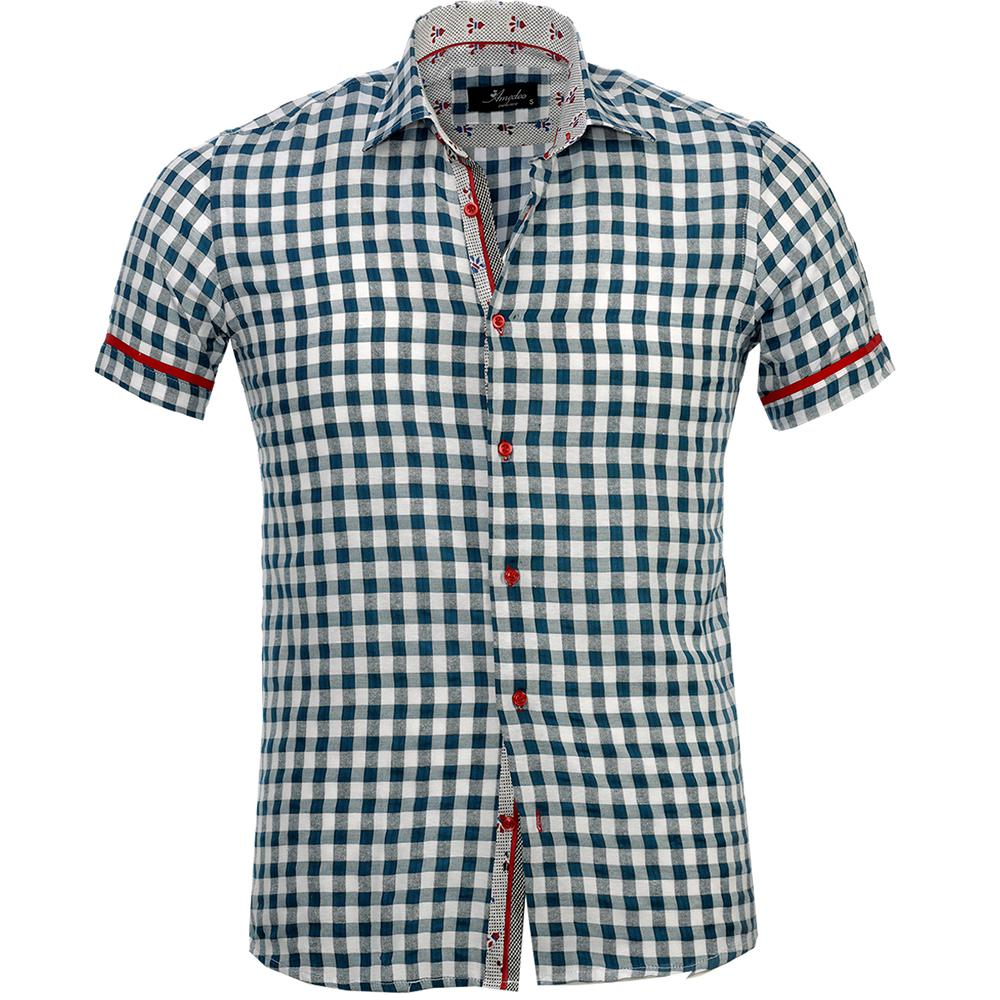 Men's Button down Tailor Fit Soft 100% Cotton Short Sleeve Dress Shirt Blue White Checkered casual And Formal