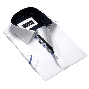 Men's Fashion Solid White Checkered Dress Shirt