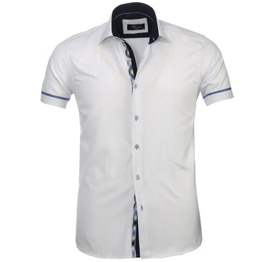 Men's Button down Tailor Fit Soft 100% Cotton Short Sleeve Dress Shirt Solid White Checkered casual And Formal - Amedeo Exclusive