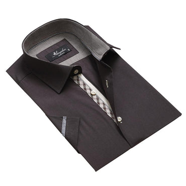 Men's Fashion Solid Black Checkered Dress Shirt