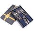 Navy Blue Diamonds Strap Dual Clip On Elastic suspenders for Men - Adjustable Y Straps For Work