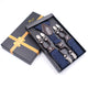 Men's Elastic Y Navy Blue Diamonds Strap Dual Clip on High Quality Premium Suspenders - Amedeo Exclusive