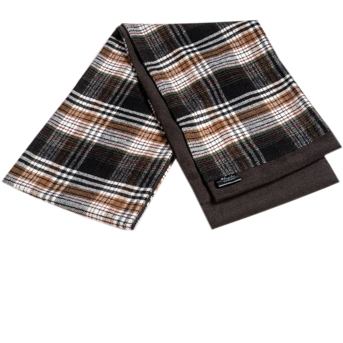 Men Microfiber Soft Comfortable Black Brown Check Wool Scarf - Amedeo Exclusive