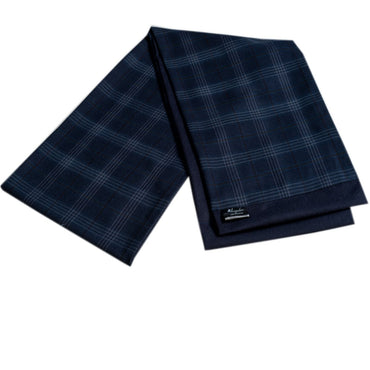 Men Microfiber Soft Comfortable Blue Check Wool Scarf