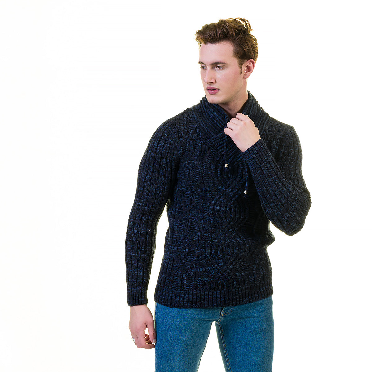 European Wool Luxury Zippered With Sweater Jacket Warm Winter Tailor Fit