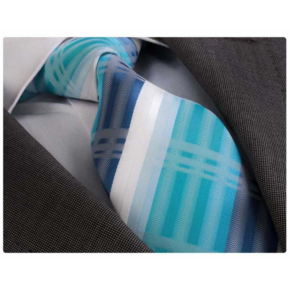 Men's jacquard Turqouise Blue White Premium Neck Tie With Gift Box