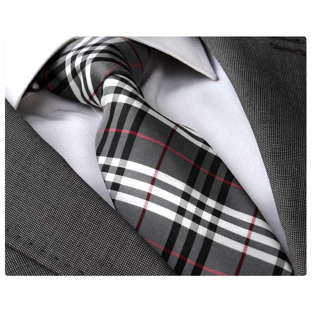 Men's Fashion Grey White Plaid Squares Neck Tie Gift box