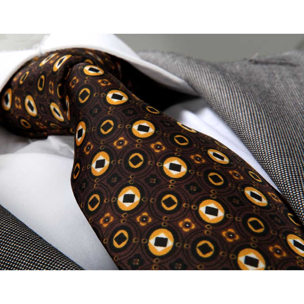 Men's jacquard Brown Champagne Circles Neck Tie With Gift Box